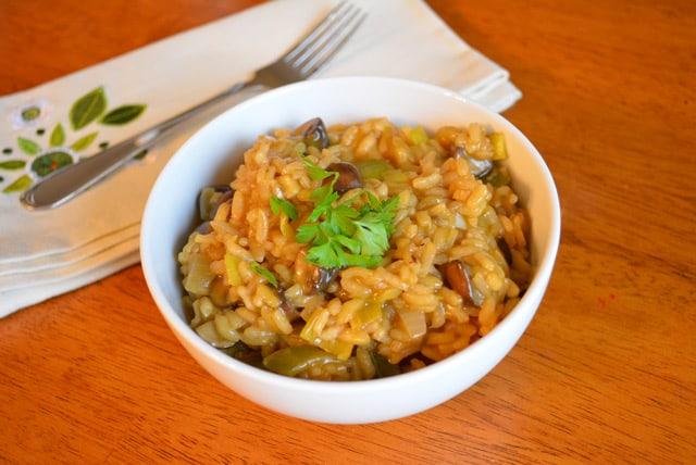 Mushroom Leek Risotto {Recipe} {Vegetarian}