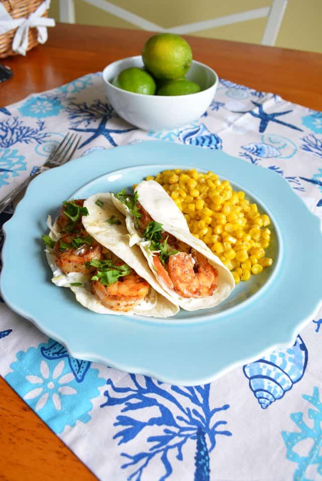 Shrimp Tacos with Cilantro-Lime Cream {emeals recipe}