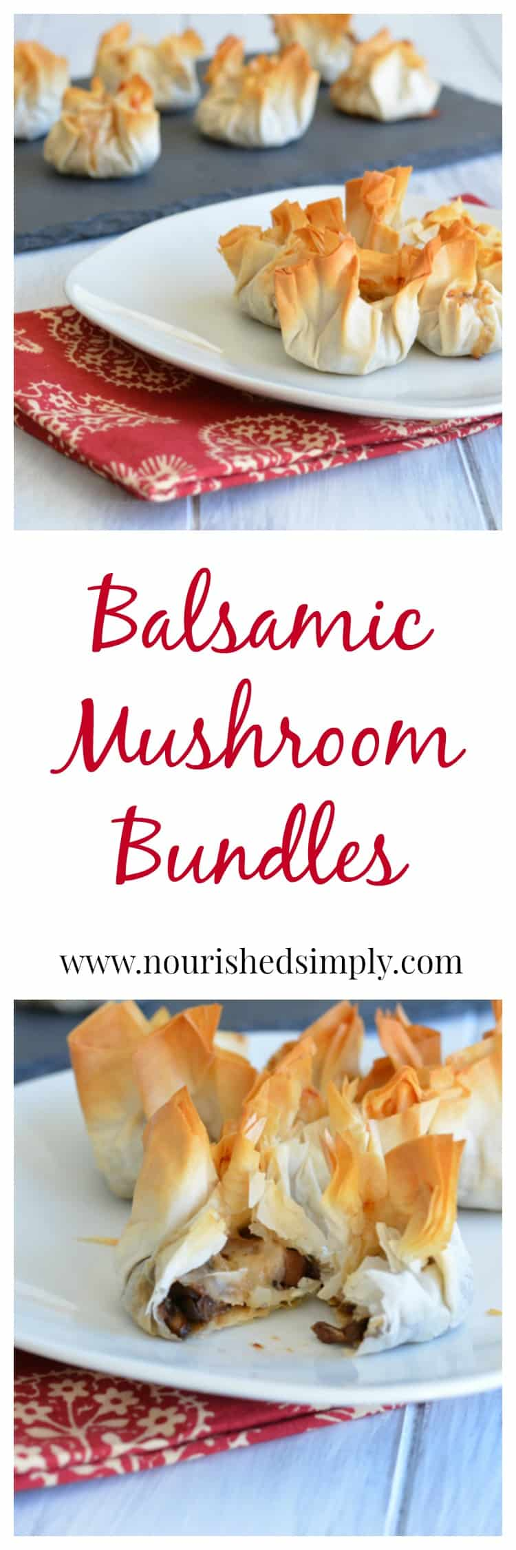 Balsamic Mushroom Bundles, a perfect meatless appetizer to add to your holiday party recipe list.