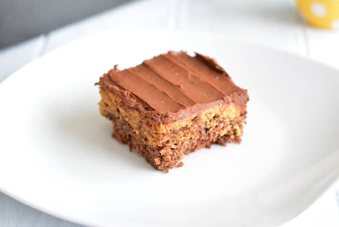 Chocolate Peanut Butter Brownie sitting on a white plate.