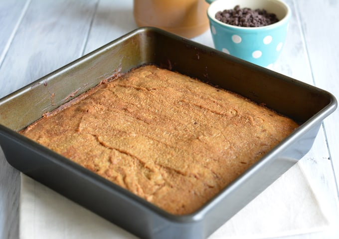 Brownies in a square baking pan.