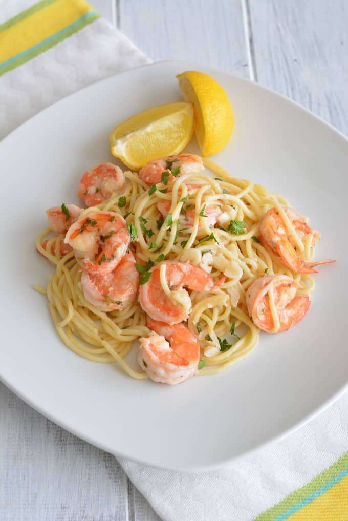 Do you love shrimp scampi, but wish it wasn't such a higher calorie dish? Try this lightened up version of Shrimp Scampi. Still has the scampi flavor we all love without the calories!