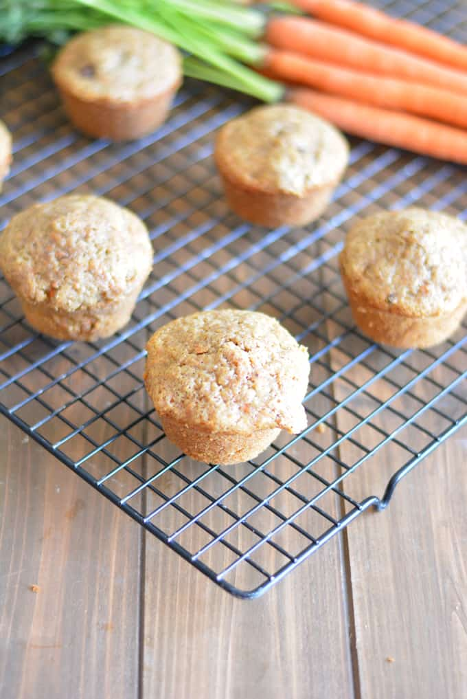 Carrot muffins on a black cooling rack.