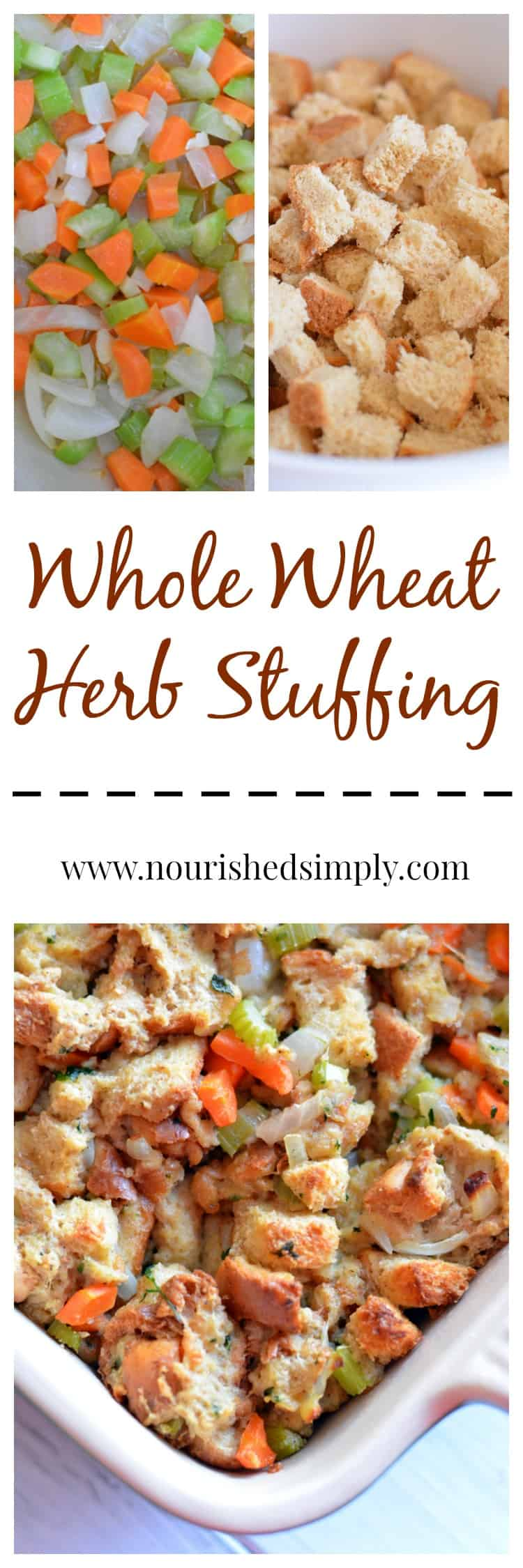 Homemade herb whole wheat stuffing filled with veggies is a healthy alternative to boxed stuffing for your Thanksgiving meal.