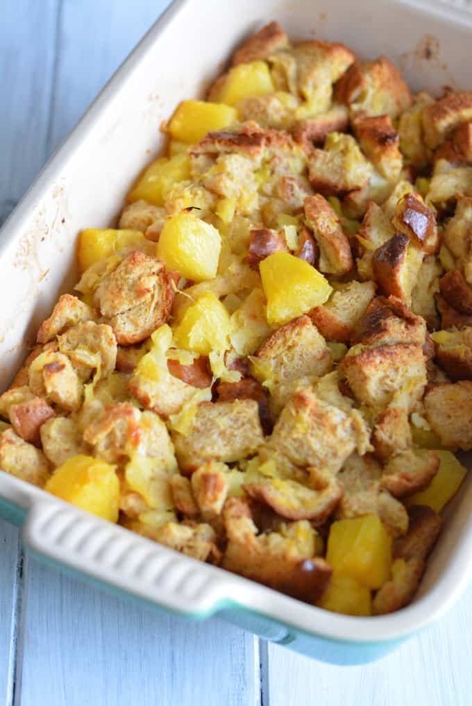 A lower calorie pineapple souffle in a baking dish.