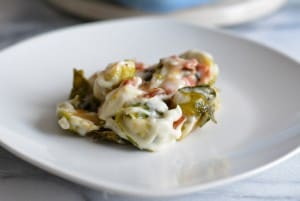 Brussel Sprouts with Garlic Gruyere Sauce