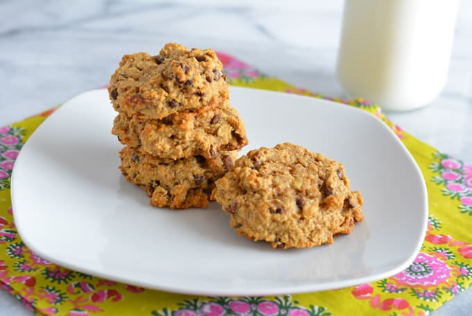 Peanut Butter Oatmeal Cookies on a white plate.