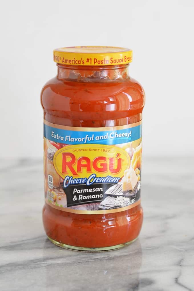 A jar of Ragu pasta sauce