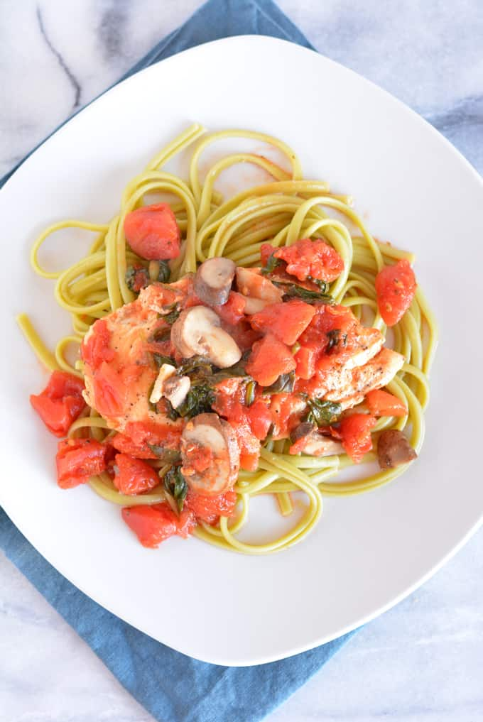 Garden Chicken with Linguine