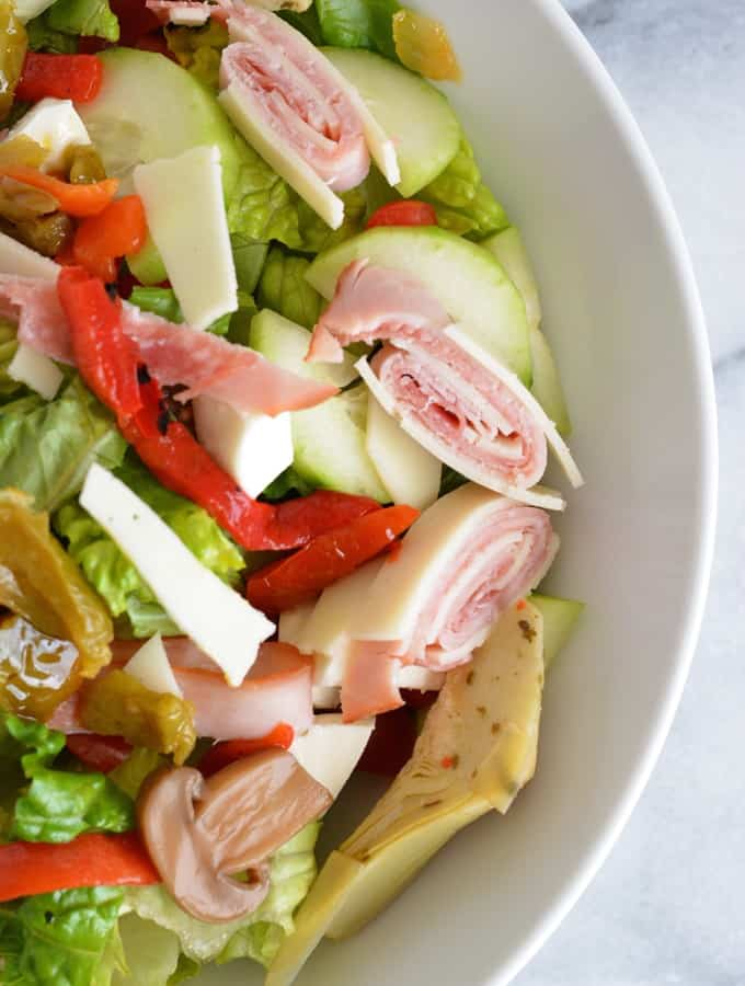 Antipasto Salad is a quick protein rich meal.