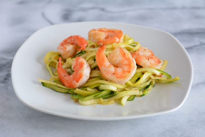Sriracha Shrimp with Zoodles reminds you of a spicy noodle bowl without the calories of a big bowl of pasta.