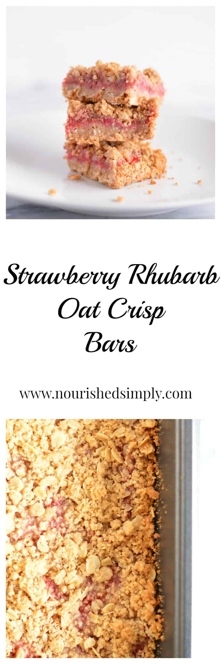 Strawberry Rhubarb Oat Crisp Bars are full of fiber with oats, oat bran, and chia seeds!