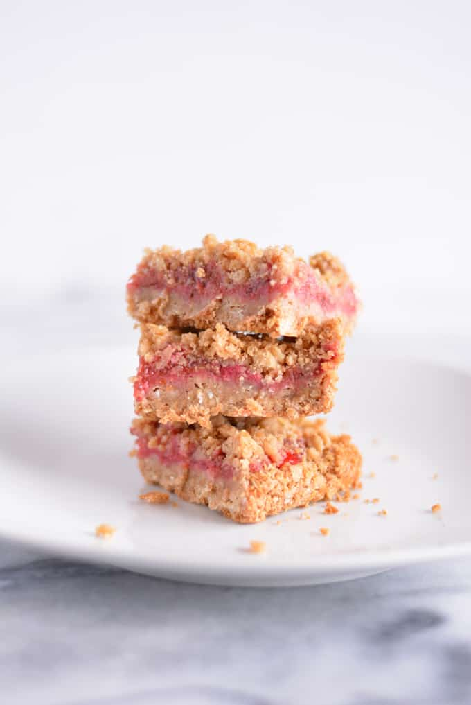 Strawberry Rhubarb Oat Crisp Bars