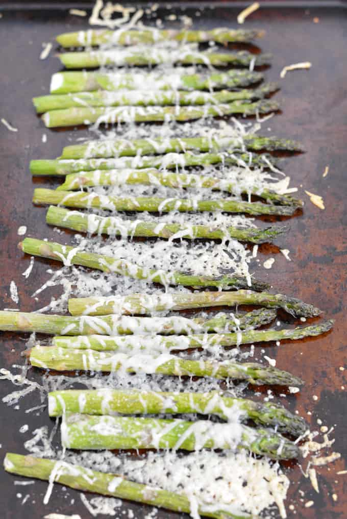 Roasted Asparagus is ready is 10 minutes. This is a quick and easy side dish full of fiber and nutrients. Parmesan cheese adds extra protein.