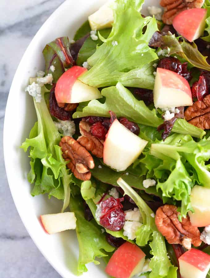 Harvest Salad filled with the most delicious flavors of Fall. Perfect for Thanksgiving, Christmas, and any holiday party.
