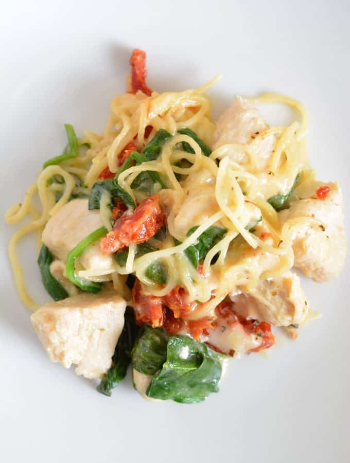 One Pot Chicken Florentine with Sun-Dried Tomatoes is a perfect dinner meal for a busy family.