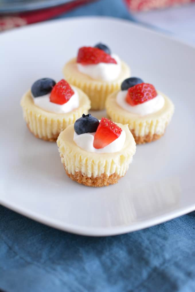 Four mini cheesecakes topped with blueberry, strawberry and whipped cream on top of a white plate.