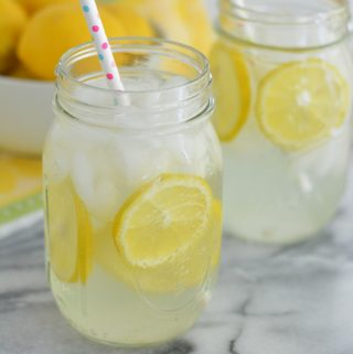 Homemade Lemonade in a mason jar.