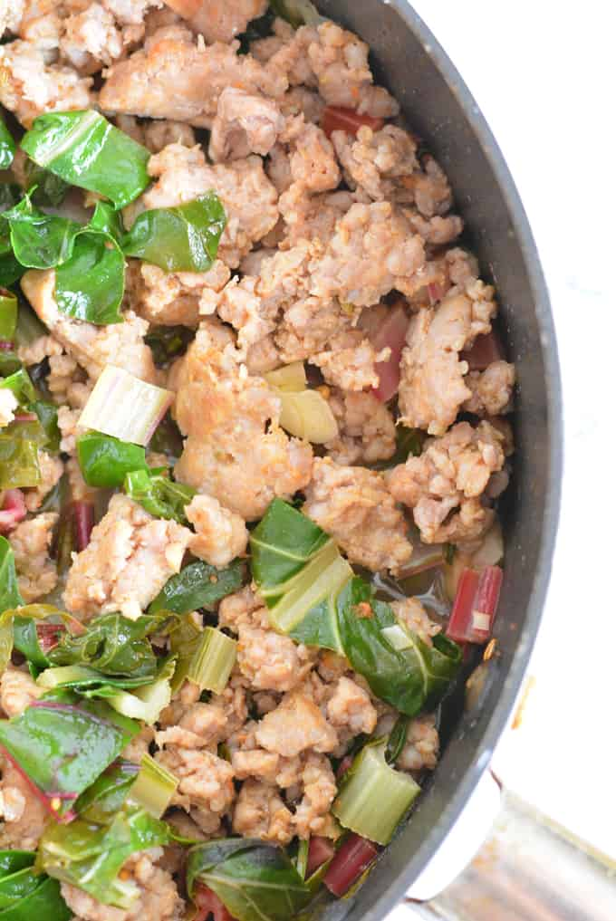 Sausage with Garlic Swiss Chard is ready in 30 minutes or less.