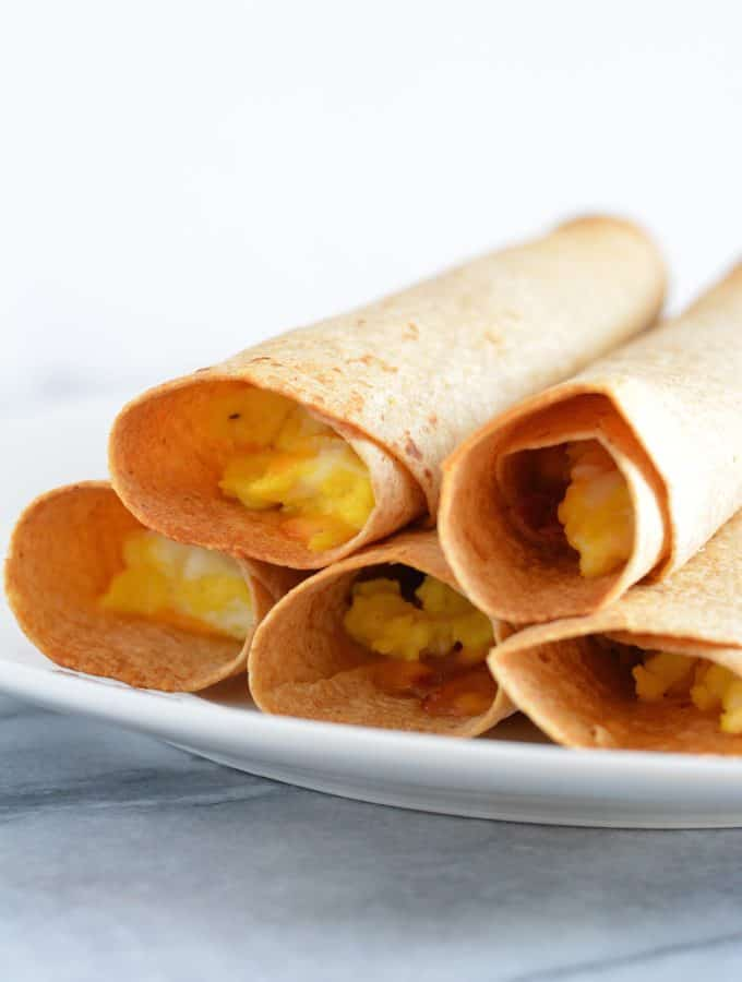 Breakfast Taquito with ham, cheese, and egg is a great grab and go breakfast.