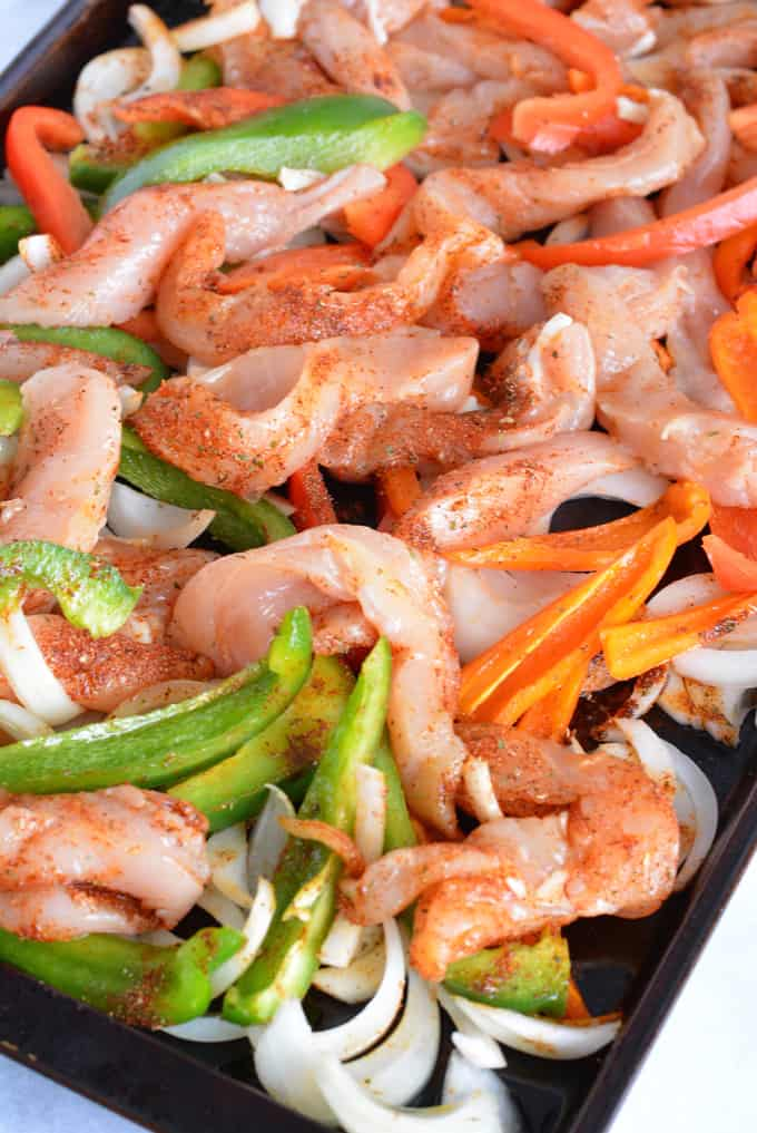Low Sodium Sheet Pan Chicken Fajitas - Nourished Simply