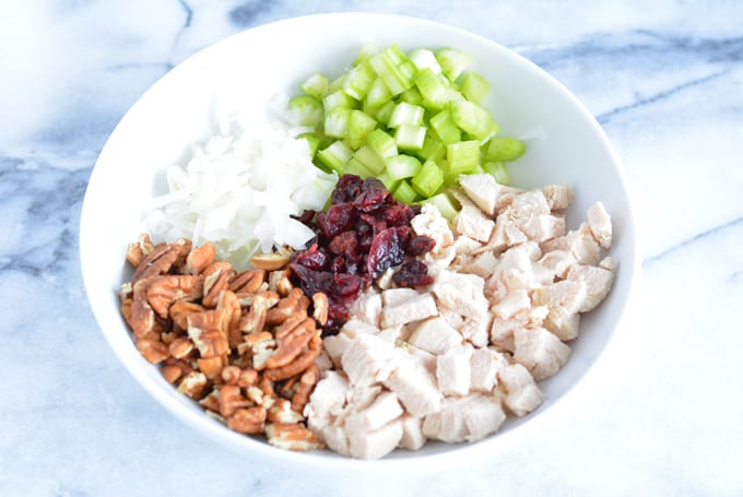 Diced chicken, chopped celery, chopped onion, pecans, and dried cranberries in a white bowl.