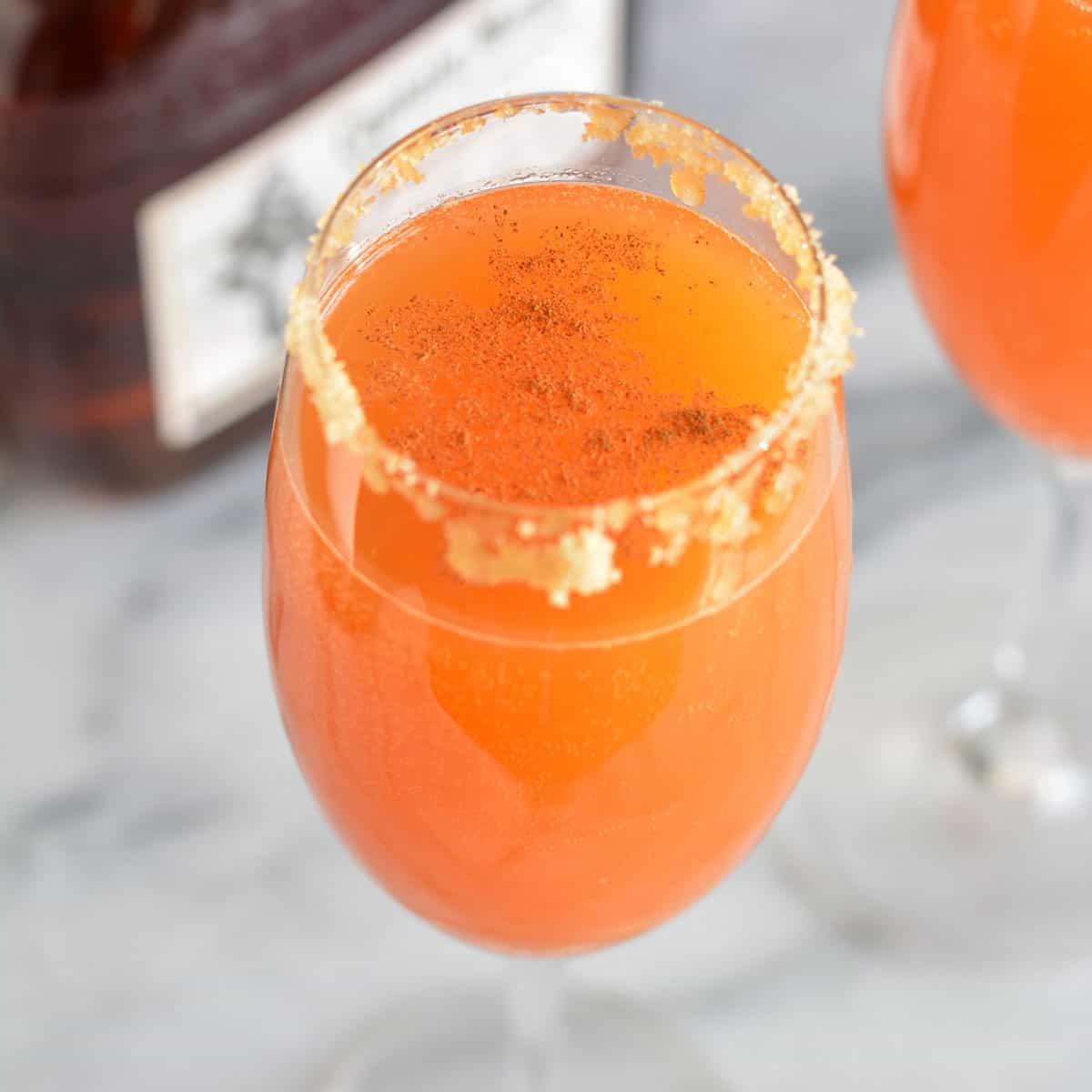 Pumpkin fizz drink in a glass
